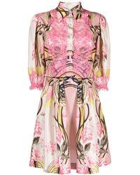 Alberta Ferretti Платье-рубашка С Кружевными Вставками - Розовый