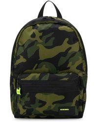 DIESEL Mesh Overlay Camouflage Print Backpack - ブラック