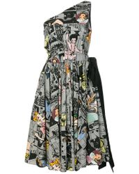 Prada - Asymmetric Comic Print Dress - Lyst