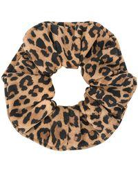 Manokhi Animal Print Scrunchie - Brown