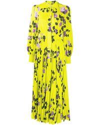 MSGM Плиссированное Платье С Цветочным Принтом И Завязками - Желтый