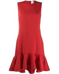 Victoria, Victoria Beckham Dropped Waist Fluted Hem Dress - Red