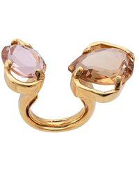 Oscar de la Renta Crystal Open Ring - Metallic