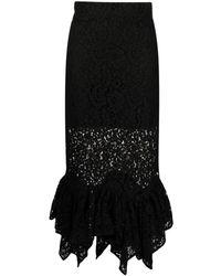 Amen Asymmetrical Lace Panelled Skirt - Black