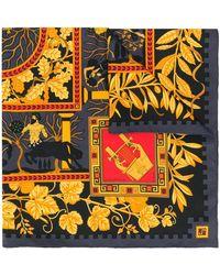 Hermès Pañuelo con estampado de hojas pre-owned - Negro