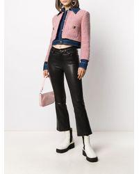 Moschino ツイードレイヤード デニムジャケット - ピンク