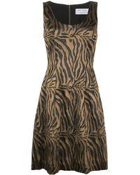 Prabal Gurung Ärmelloses Kleid mit Tiger-Print - Mettallic