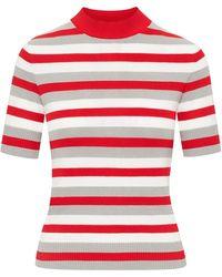 Oscar de la Renta Stripe-pattern Short-sleeve Top - White
