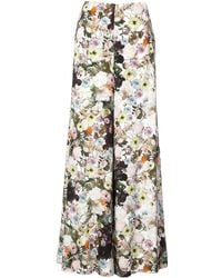 Adam Lippes Floral Print Wide Leg Trousers - Wit