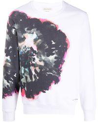 Alexander McQueen Sweater Met Abstracte Print - Wit