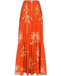 Johanna Ortiz Powerful Rhythm Feather-print Cotton Maxi Skirt - Red