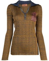 Missoni Slim-fit Knitted Polo Top - Brown