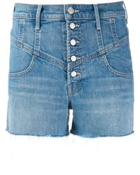 Mother Shorts denim a vita alta - Blu