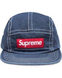 Supreme Bonnet en denim à patch logo - Bleu