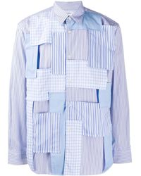 Comme des Garçons Полосатая Рубашка В Технике Пэчворк - Синий