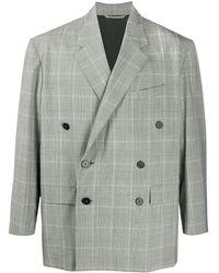 Balenciaga Двубортный Пиджак В Клетку - Серый