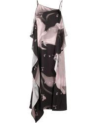 Off-White c/o Virgil Abloh - Liquid Melt Waves Slip Dress Nude Blac - Lyst