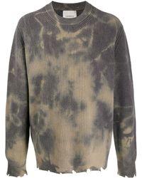 Laneus Sweat à imprimé tie-dye - Gris