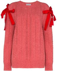 Molly Goddard Bow Shoulders Knitted Sweater - Pink