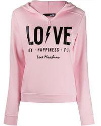 Love Moschino Sudadera con capucha y estampado Love - Rosa