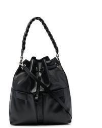 Orciani Logo-plaque Leather Bucket Bag - Black