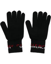 Givenchy Wool Logo Intarsia Gloves - Black