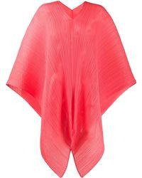 Pleats Please Issey Miyake Châle oversize à design plissé - Rouge