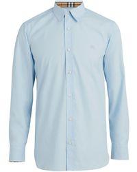 Burberry Geruit Manchet Stretch Katoen Poplin Shirt - Blauw