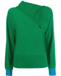 Cedric Charlier Foldover Neck Sweater - Green