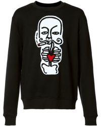Haculla 'heart' Print Sweatshirt - Black