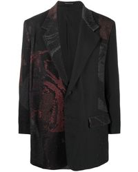 Yohji Yamamoto プリント シングルジャケット - ブラック