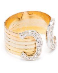 Cartier - プレオウンド ダイヤモンド ダブル C リング 18kゴールド - Lyst