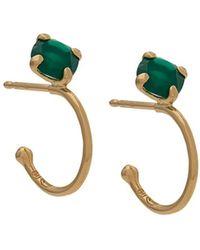 Wouters & Hendrix - Green Agate Hoop Earrings - Lyst