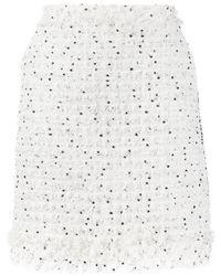 Karl Lagerfeld Falda de bouclé deshilachado - Blanco