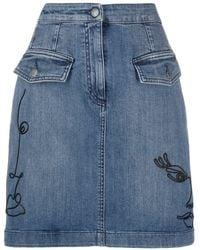 Moschino Cornely Embroidered Denim Skirt - Blue