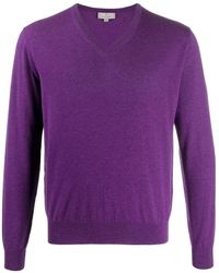 Canali V-neck Cashmere Jumper - Purple