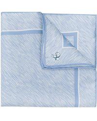 Canali プリント ポケットチーフ - ブルー