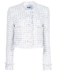 MSGM | Cropped Tweed Jacket | Lyst