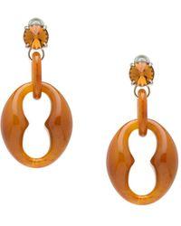 Prada Geometric Oversized Earrings - Brown