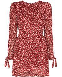 Reformation Vestido Lucita con cinturón y estampado floral - Rojo