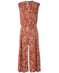 Andrea Marques Printed Cropped Jumpsuit - Brown