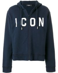 DSquared² Icon embroidered hoodie - Blu