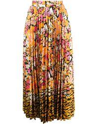 Saloni Floral print pleated skirt - Giallo