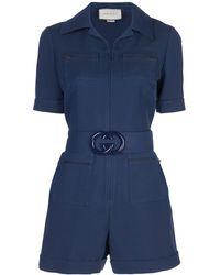 Gucci GG Short Belted Jumpsuit - Blue