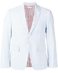 Thom Browne Seersucker Sport Coat - Blue