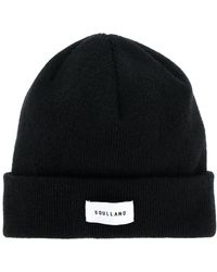 Soulland - Ribbed Logo Beanie - Lyst