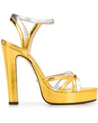 Gucci - Sandales métallisées à plaque logo - Lyst