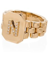 SHAY Chevalière en or 18ct à initiale N ornée de diamants - Métallisé