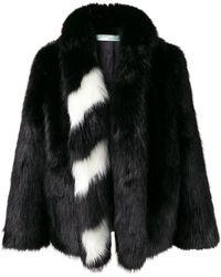 Off-White c/o Virgil Abloh Striped Collar Fur Jacket - Черный