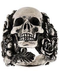 Ugo Cacciatori Skull Detai Ring - Metallic